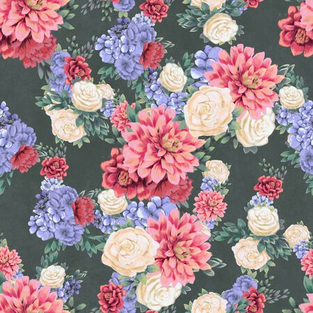 Floral seamless pattern. Hand-drawn flowers, background for greeting card, wrapping paper or wedding decoration. Blossom Wallpaper Фото со стока