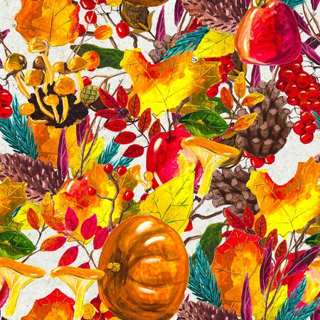 Autumn watercolor seamless pattern with leaves mushrooms and pine cones. Seasonal hand painted design with rowan, branches, yellow leaves, pumpkins, berries and acorns Stock Photo