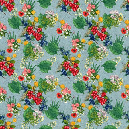 Hand drawn medicinal plant seamless pattern. Healing herbs drawing on craft paper. Illustration of juniper, hawthorn, aloe, pharmacy chamomile, poppy, valerian, plantain lavender immortelle calendula