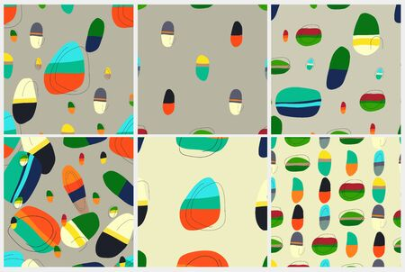 Vector seamless pattern set. Backgrounds with abstract stones. Colorful geometric shapes.