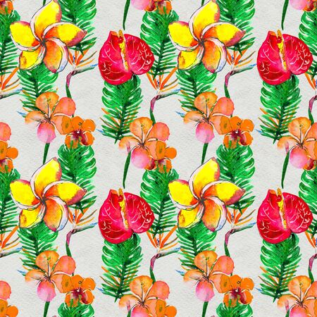 Seamless pattern With Tropical Flowers and leaves. Jungle. Watercolor Background. Floral Hand Painted colorful illustration.
