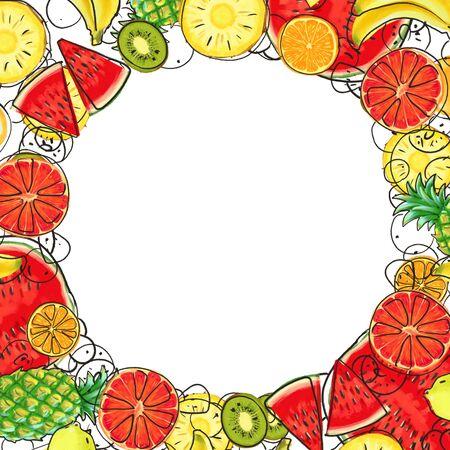 Hand drawn Exotic Fruit frame isolated on white background. Summer illustration Фото со стока