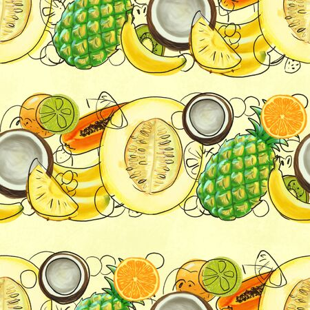 Hand drawn seamless pattern with bananas, coconuts, pineapples papaya and melon. Summer background with exotic fruits. Top view. Wallpaper or textile tropic print Фото со стока