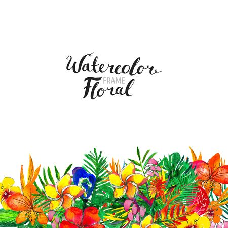 Watercolor Background with Tropical Plants and Flowers. Exotic floral border.