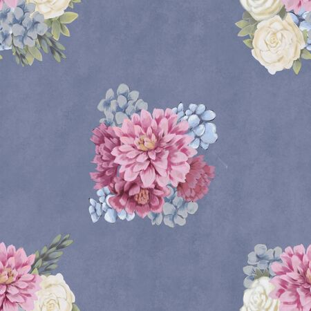 Trendy Floral seamless pattern. Hand-drawn flowers. Wallpaper or fabric