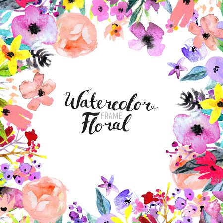 Watercolor Floral Background. Hand painted border of flowers. Good for invitations and greeting cards. Frame isolated on white and brush lettering. Rose, poppy and peony illustration Spring blossom Archivio Fotografico - 129159867