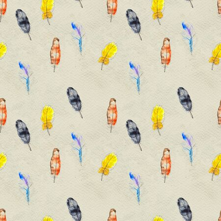 Watercolor seamless pattern. Hand painted texture with various colorful feathers. Paper background Фото со стока