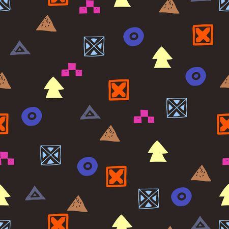 Tribal ethnic background. Stylish primitive geometric seamless pattern. Trendy print modern abstract wallpaper vector illustration. Ornament fabric textile.