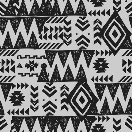 Tribal ethnic background. Stylish primitive geometric seamless pattern. Trendy print wallpaper with grunge texture vector illustration. Monochrome ornament fabric textile