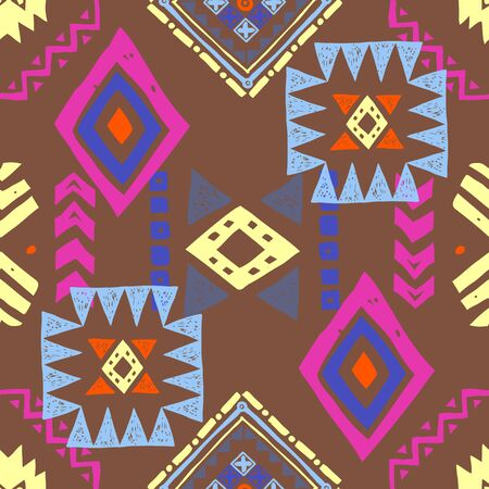 Tribal ethnic background. Stylish primitive geometric seamless pattern. Trendy print modern abstract wallpaper with grunge texture vector illustration. Ornament fabric textile.