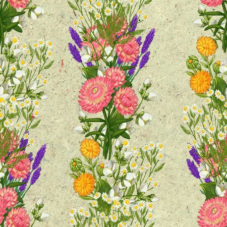 Hand drawn medicinal plant seamless pattern. Healing herbs drawing on craft paper. Illustration of aloe, pharmacy chamomile, valerian, lavender immortelle calendula