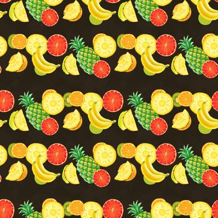 Hand drawn seamless pattern with bananas, oranges, pineapples papaya and grapefruit. Summer background with exotic fruits. Top view. Wallpaper or textile tropic print Stok Fotoğraf