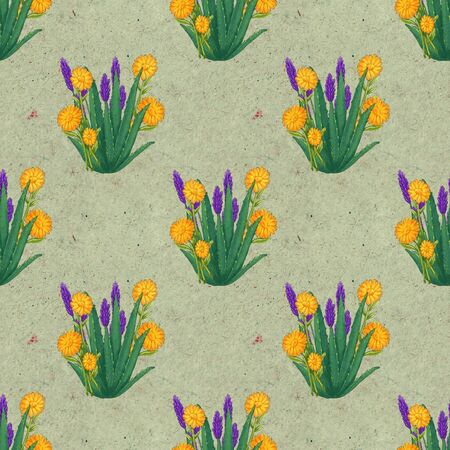 Hand drawn medicinal plant seamless pattern. Healing herbs drawing on craft paper. Illustration of aloe, lavender calendula