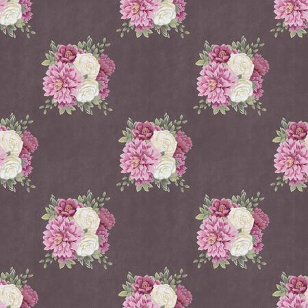 Vintage Floral seamless pattern. Hand-drawn flowers for fabric. Spring bouquet Stock Photo