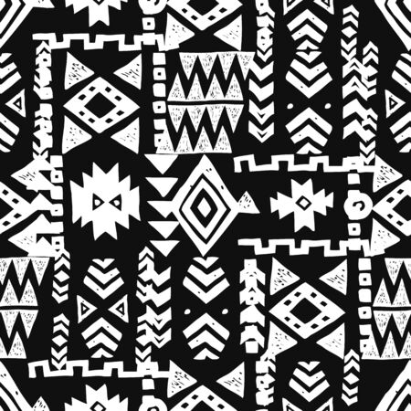 Tribal ethnic background. Stylish primitive geometric seamless pattern. Print modern abstract wallpaper with grunge texture vector illustration. Monochrome ornament fabric textile. White on black