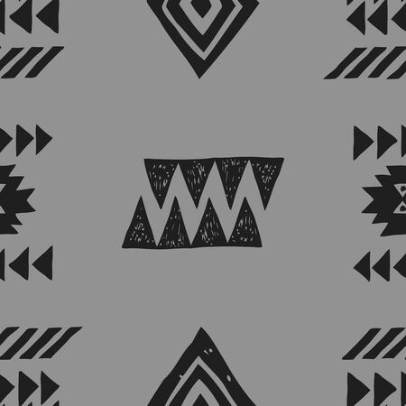 Tribal ethnic background. Stylish primitive geometric seamless pattern. Trendy print modern abstract wallpaper with grunge texture vector illustration. Monochrome ornament fabric textile