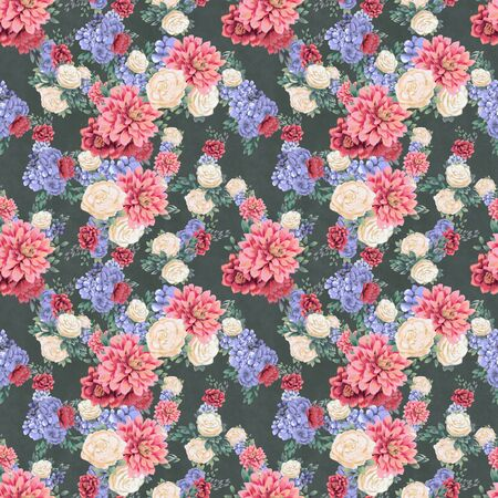 Floral seamless pattern. Hand-drawn flowers, background for greeting card, wrapping paper or wedding decoration. Blossom Wallpaper Stock Photo