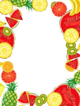 Hand drawn Exotic Fruit border isolated on white background. Summer illustration wirh pineapple, watermelon, banana and grapefruit Stok Fotoğraf - 129348357