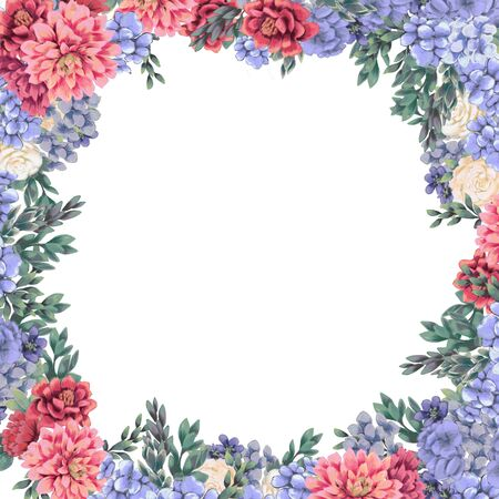Floral frame for design save the date cards, invitations, posters and birthday decoration. Spring wedding border hand painted isolated on white background.