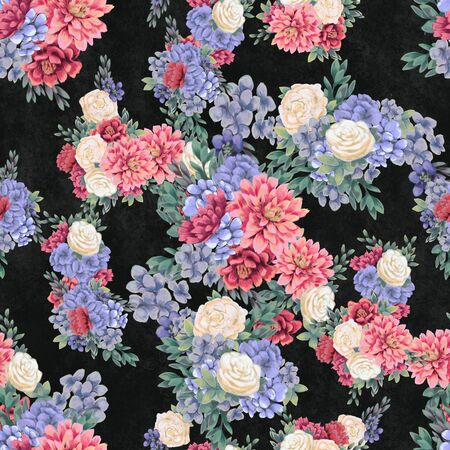Floral seamless pattern. Hand-drawn flowers. Wallpaper or textile.