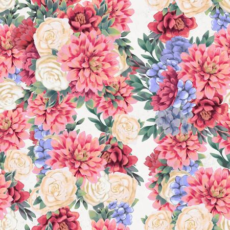 Trendy Floral seamless pattern. Hand-drawn flowers. Wallpaper or textile print. Fabric botanical background Stock Photo