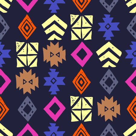 Tribal ethnic background. Stylish primitive geometric seamless pattern. Trendy print modern abstract wallpaper with grunge texture vector illustration.