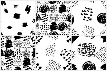 Vector seamless pattern set. Abstract backgrounds with grunge brush strokes. Wallpaper, print for fabric or wrapping paper.