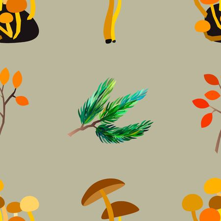 Autumn vector seamless pattern with berries, acorns, pine cone, mushrooms, branches and leaves. Fashion, fabric and prints, wrapping paper. Standard-Bild - 130033651