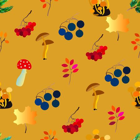 Autumn vector seamless pattern with berries, acorns, pine cone, mushrooms, branches and leaves. Standard-Bild - 130033652