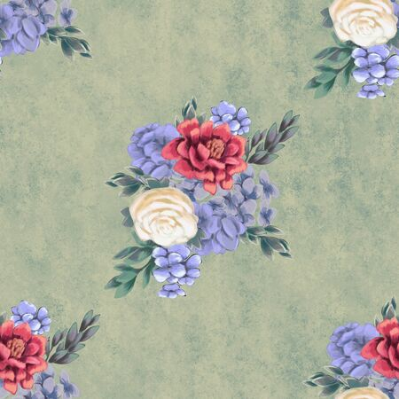 Vintage Floral seamless pattern. Hand-drawn flowers for fabric with beautiful bouquet Stock Photo