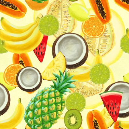 Hand drawn seamless pattern with bananas, coconuts, pineapples papaya and water melon. Summer background with exotic fruits. Top view. Wallpaper or textile tropic print 写真素材 - 130033667