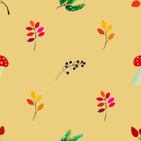 Autumn vector seamless pattern with berries, acorns, pine cone, mushrooms, branches and leaves. Fall colorful background.