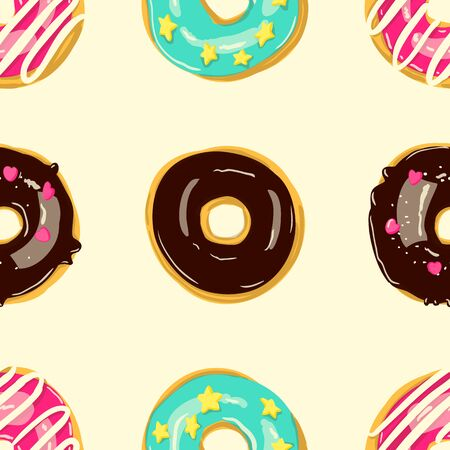 Glazed Donuts seamless pattern. Bakery Vector. Top View doughnuts into color caramel and chocolate glaze. Cartoon style illustration. Çizim