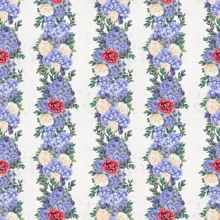Vintage Floral seamless pattern. Hand-drawn flowers for fabric. Botanical print Stock Photo