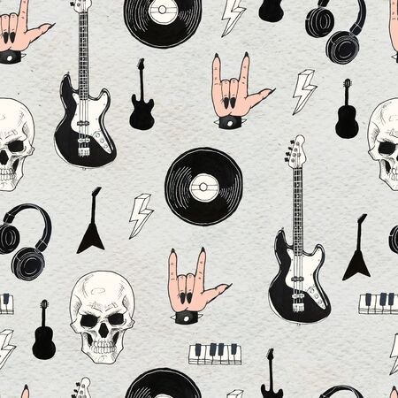 Seamless Rock background. Abstract music modern pattern. Hand drawn illustration Vinyl records, guitar, skull, keys, headphones.