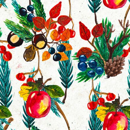 Autumn watercolor seamless pattern with leaves mushrooms and pine cones. Seasonal hand painted design with rowan, branches, berries and apples