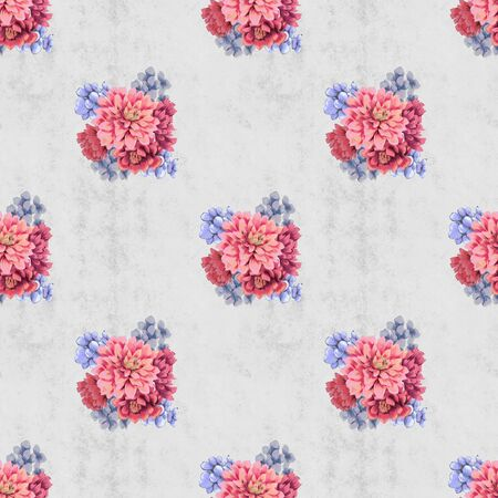 Vintage Floral seamless pattern with bouquet. Hand-drawn flowers for fabric