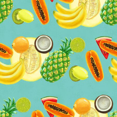 Hand drawn seamless pattern with bananas, coconuts, pineapples papaya and melon. Summer background with exotic fruits. Top view. Wallpaper or textile tropic print 版權商用圖片