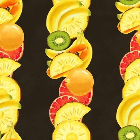Hand drawn seamless pattern with bananas, grapefruit, pineapples papaya. Summer background with exotic fruits. Top view. Wallpaper or textile tropic print 版權商用圖片