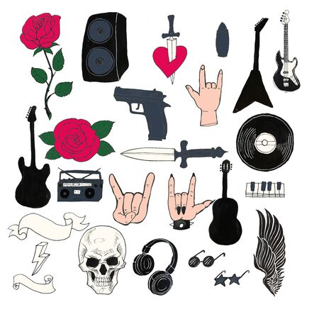 Rock-n-roll set of objects. Abstract music hand drawn collection with piano, headphones, guitars, wings, roses and sunglasses