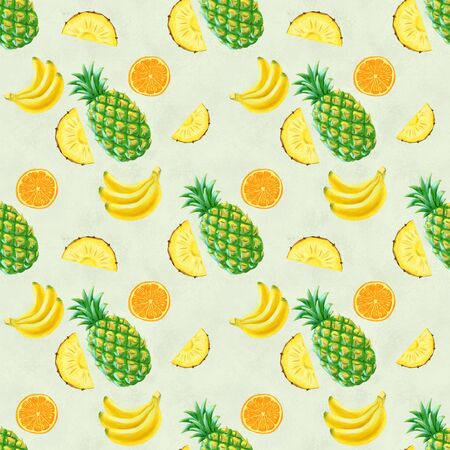 Hand drawn seamless pattern with bananas, orange, pineapples and watermelon. Summer background with exotic fruits. Top view. Wallpaper or textile tropic print