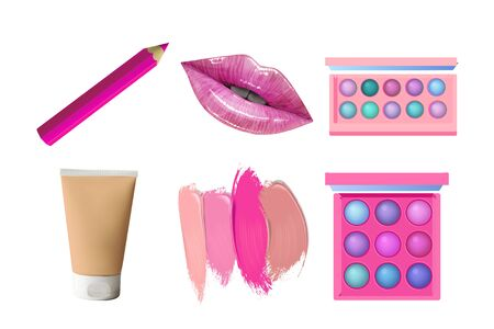 Make up objects. Vector Beauty cosmetic products. Lips, lipstick, eye shadows, eyeliner and concealer.