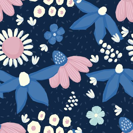Seamless pattern Vector floral design with chamomile and wildflowers. Romantic background print for fabrics and wallpapers. Illustration