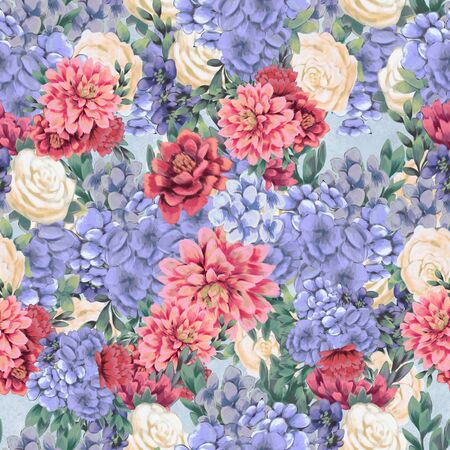 Floral seamless pattern. Hand-drawn flowers. Wallpaper or textile print