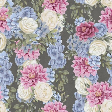 Trendy Floral seamless pattern. Hand-drawn flowers. Wallpaper or textile print. Fabric tile