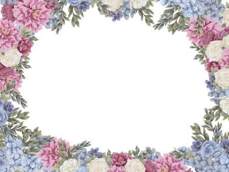 Floral frame for design save the date cards, invitations, posters and birthday decoration. Wedding border hand painted isolated on white background. Chrysanthemum, hydrangea and roses