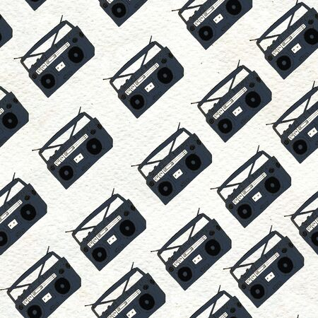 Seamless Rock background. Abstract music modern pattern. Hand drawn illustration with boombox 写真素材
