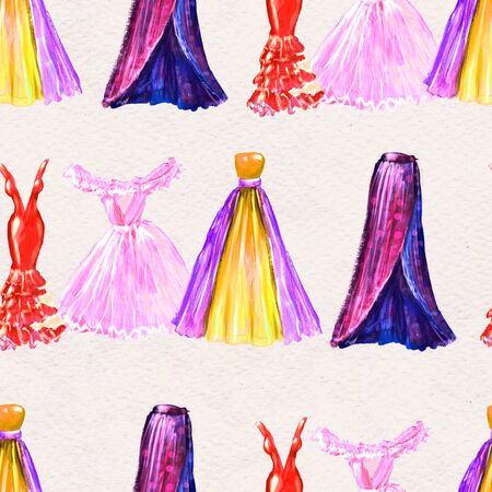Fashion seamless pattern. Watercolor hand-drawn background with dresses. hand painted illustration. Style and shopping clothes