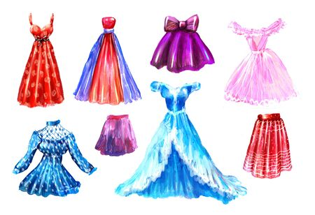 Fashion set. Watercolor hand drawn collection of dresses shoes skirts, perfumes and bags. hand painted illustration. Style concept. Shopping clothes and accessories Banco de Imagens