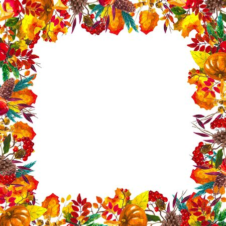 Autumn leaves border frame with space for text isolated on white background. Seasonal floral watercolor design with hand drawn leaves